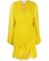 Giambattista Valli Yellow Ruffle-trimmed Draped Dress