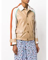 Marni - Brown Striped Shoulder Leather Jacket - Lyst