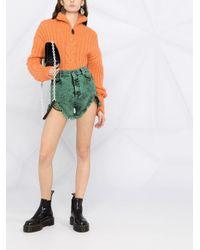 RED Valentino Green High-waist Acid-effect Shorts