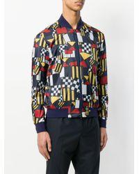 Ermenegildo Zegna Multicolor Geometric Print Bomber Jacket for men