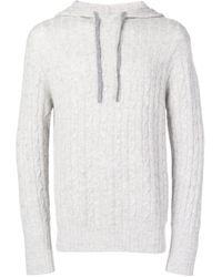 Pull en tricot torsadé à capuche N.Peal Cashmere pour homme en coloris Gray