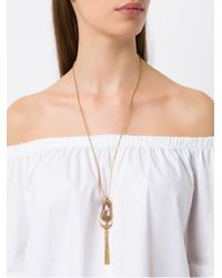 Camila Klein - Metallic Longo Com Baguete Ouro Necklace - Lyst