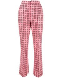 Marni Red Checked Brocade Trousers