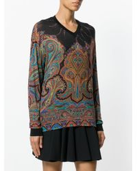 Etro Black V-neck Paisley Blouse