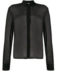 Camisa translúcida con cuello de pico Forte Forte de color Black