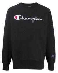 メンズ Champion ロゴ スウェットシャツ Black