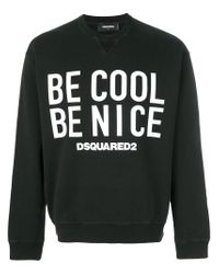 DSquared² Black Be Cool Be Nice Sweatshirt for men
