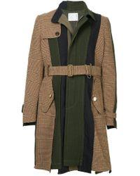 Cappotto con pannelli a contrasto con cintura di Sacai in Multicolor da Uomo