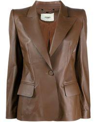 Fendi Brown Single-breasted Leather Blazer