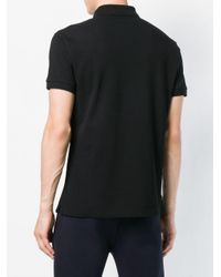 Versace Jeans Black Patch Embellished Polo Shirt for men