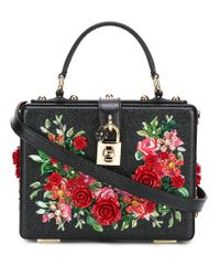 3fdd9bb53b5d Dolce   Gabbana Floral Embroidered Box Bag in Black - Lyst