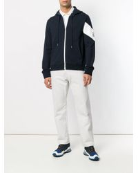 Moncler - Blue Patch Embellished Zip-up Hoodie for Men - Lyst