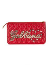 Porte-monnaie matelassé à logos Dolce & Gabbana en coloris Red