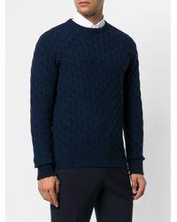Eleventy Blue Cable-knit Cashmere Jumper for men