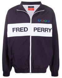 Chaqueta impermeable con logo Fred Perry de hombre de color Blue