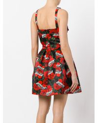 Philipp Plein Red Rose Print Dress