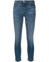 Pinko Blue Faded Skinny Cropped Jeans
