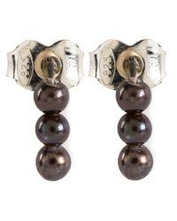 Henson - Black Akoya Pearl Stud Earrings - Lyst