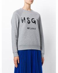 MSGM Gray Logo Print Sweatshirt