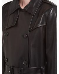 Prada Black Double Breasted Leather Coat