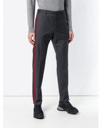 Prada Gray Contrast Stripe Trousers for men
