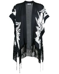 Amir Slama Black Floral Print Kimono