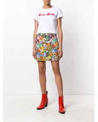 Moschino Multicolor Patch Print Mini Skirt