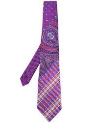 Etro - Purple Paisley Patchwork Tie for Men - Lyst