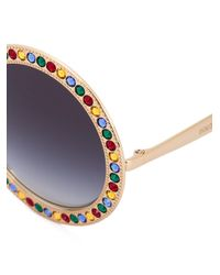 Dolce & Gabbana | Multicolor Embellished Round Frame Sunglasses | Lyst