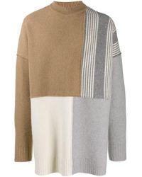 メンズ Jil Sander パッチワーク クルーネックセーター Multicolor