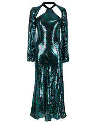 Robe Celia rayée à sequins Rixo en coloris Blue