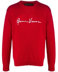 メンズ Versace ロゴ プルオーバー Red