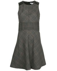 10 Crosby Derek Lam Gray Sleeveless Check Fit & Flare Short Dress With Corset Detail