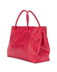 Moschino Red Embossed Logo Tote Bag