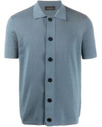 Roberto Collina Poloshirt mit Knopfleiste in Blue für Herren