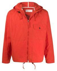 Universal Works Orange Hooded Zipped Jacket for men