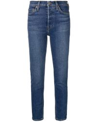 Re/done Blue Skinny Cropped Jeans