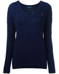 Polo Ralph Lauren - Blue Cable Knit V-neck Jumper - Lyst