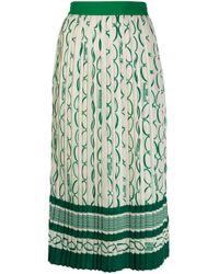 Юбка Со Складками И Принтом Elisabetta Franchi, цвет: Green