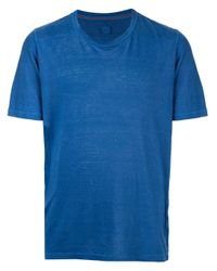 メンズ 120% Lino クルーネック Tシャツ Blue