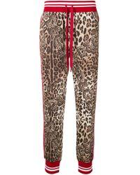 メンズ Dolce & Gabbana レオパード トラックパンツ Multicolor