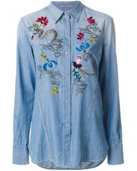 Ermanno Scervino Blue Embroidered Shirt