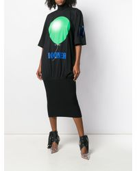Vestido Looner con eslogan estampado Christopher Kane de color Black
