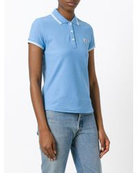 Moncler Blue Striped Trim Polo Shirt
