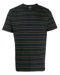 メンズ A.P.C. ストライプ Tシャツ Black