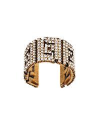 Декорированное Кольцо С Логотипом Ff Fendi, цвет: Metallic