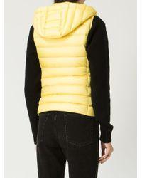Moncler Yellow Steppweste mit Kapuze