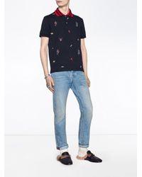 メンズ Gucci 刺繍ディテール ポロシャツ Blue