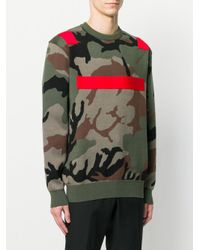 Givenchy Green Colour-block Camouflage Sweater for men