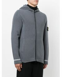 Stone Island - Gray Knitted Hoodie for Men - Lyst